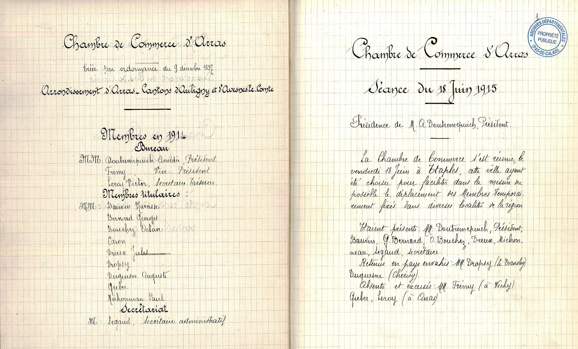 Fichier pv travaux chambre de commerce arras 1914 for Chambre de commerce calais